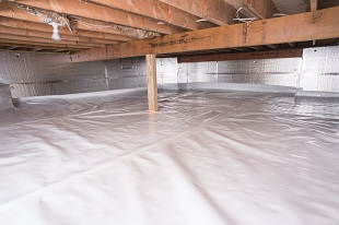 crawl space vapor barrier in Melville installed by our contractors