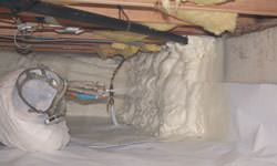 Spray foam insulation in a crawl space in Virden, Saskatchewan and Manitoba