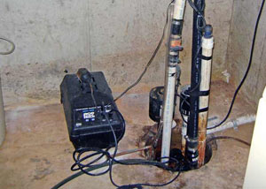 Pedestal sump pump system installed in a home in Indian Head