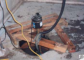 A Indian Head  sump pump system that failed and lead to a basement flood.