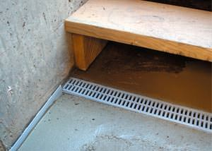 a hatchway entrance in Boissevain that has been protected from flooding by our TrenchDrain basement drainage system.