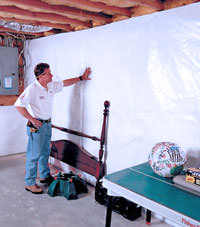 Plastic 20-mil vapor barrier for dirt basements, Moosomin, Saskatchewan and Manitoba installation