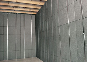SilverGlo™ insulation and metal studs making up our Basement to Beautiful panels.  Installed in Weyburn.