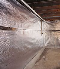 Radiant heat barrier and vapor barrier for finished basement walls in Moosomin, Saskatchewan and Manitoba